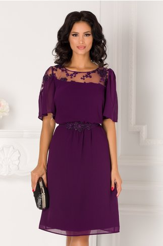 Rochie Leonard Collection din voal mov cu broderie la bust si cordon in talie