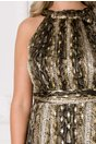 Rochie Leonard Collection kaki cu imprimeu piele de sarpe si insertii aurii