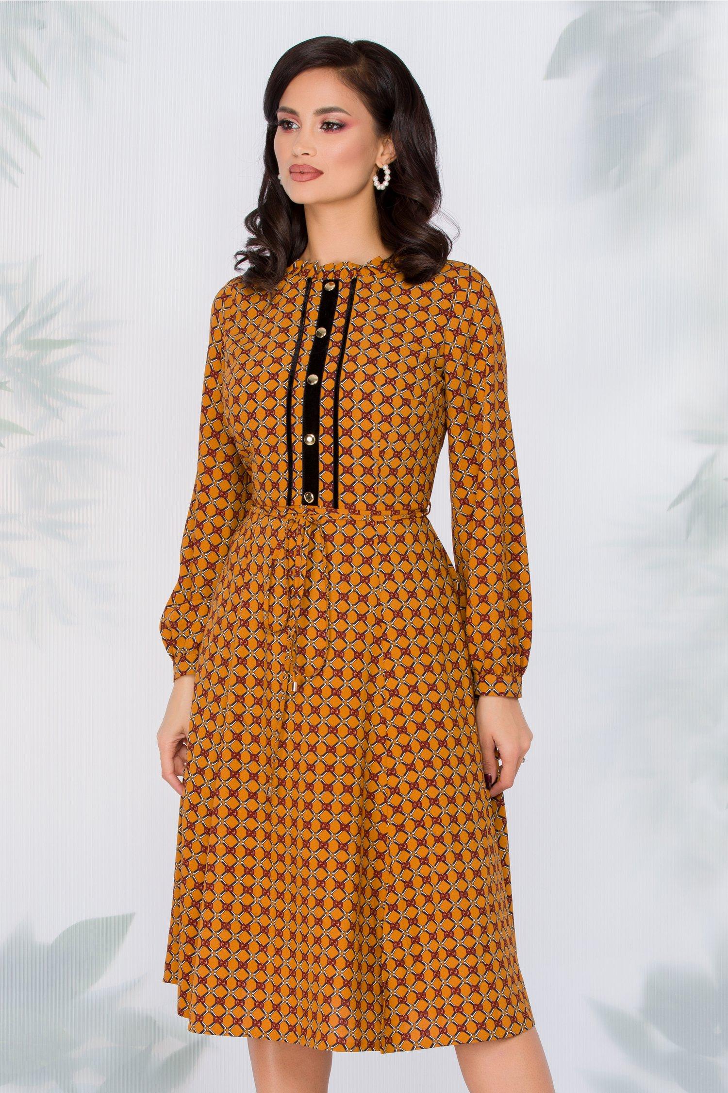 Rochie Leonard Collection maro cu imprimeu fashion