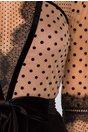 Rochie Leonard Collection neagra cu bustul din tull bej cu buline catifelate