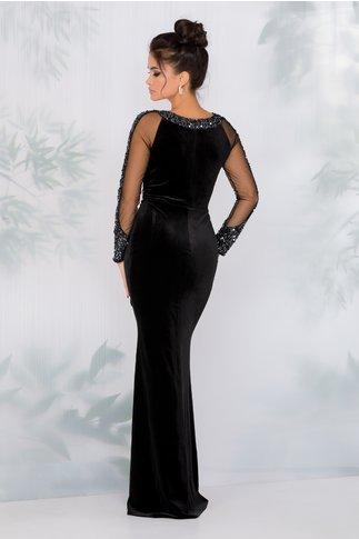 Rochie Leonard Collection neagra lunga din catifea cu aplicatii din lurex si paiete