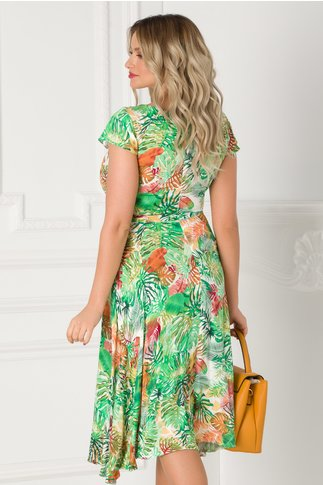 Rochie Lilia verde cu imprimeu exotic