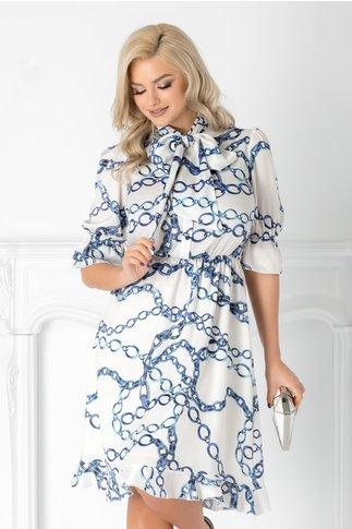 Rochie Linda alba cu imprimeuri albastre