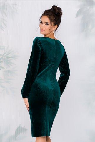 Rochie Lisa verde cu aplicatie brodata pe fata
