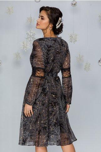 Rochie Lizzie neagra cu frunze gri si stelute aurii