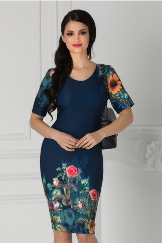 Rochie Luana bleumarin cu imprimeu floral la baza si maneci