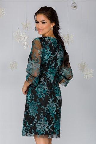 Rochie Magie neagra cu imprimeu floral verde