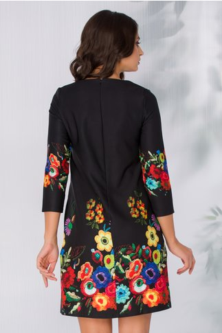 Rochie Malvera neagra cu imprimeu floral viu colorat