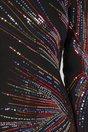 Rochie Malvina neagra cu aplicatii din paiete colorate