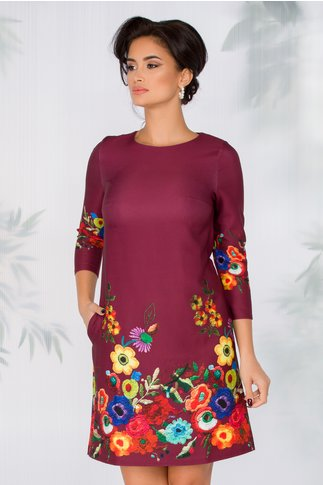 Rochie Maly bordo cu imprimeu floral