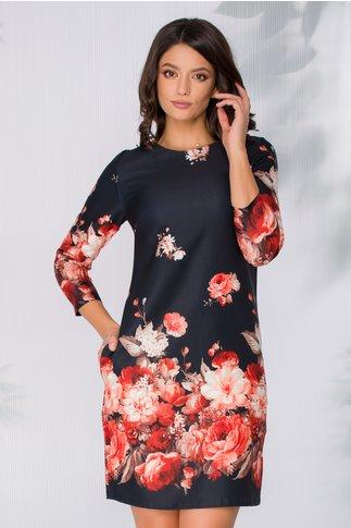 Rochie Maly neagra cu imprimeu floral