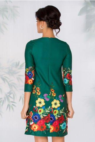 Rochie Maly verde cu imprimeu floral