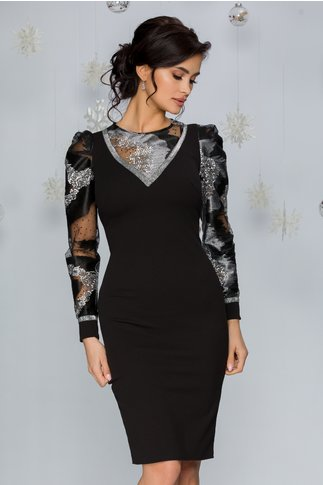 Rochie Maria neagra cu broderie florala argintie si glitter la decolteu