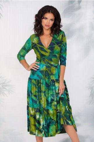 Rochie Maria verde cu elastic in talie