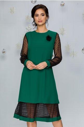 Rochie Maria verde cu maneci si volan din tull cu buline catifelate