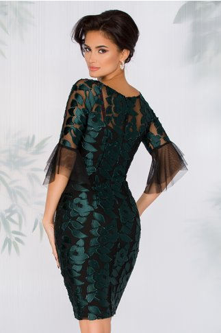 Rochie Mary neagra cu decupaje florale verzi