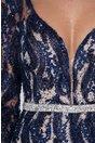 Rochie MBG bleumarin cu broderie florala din lurex si paiete