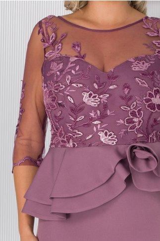 Rochie MBG lila cu broderie catifelata cu paiete si peplum in talie