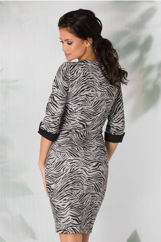 Rochie Meili gri animal print si imagine imprimata pe fata