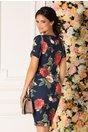 Rochie Mikki bleumarin cu imprimeu cu trandafiri maxi si decolteu petrecut