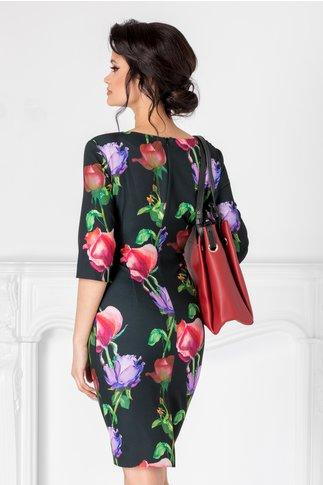Rochie Mikki neagra cu imprimeu floral si decolteu petrecut