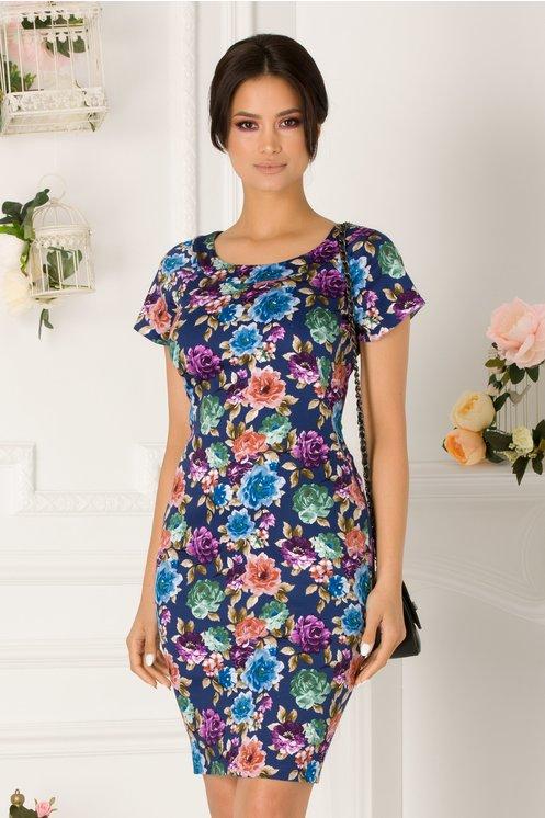 Rochie Milana bleumarin cu imprimeu floral colorat