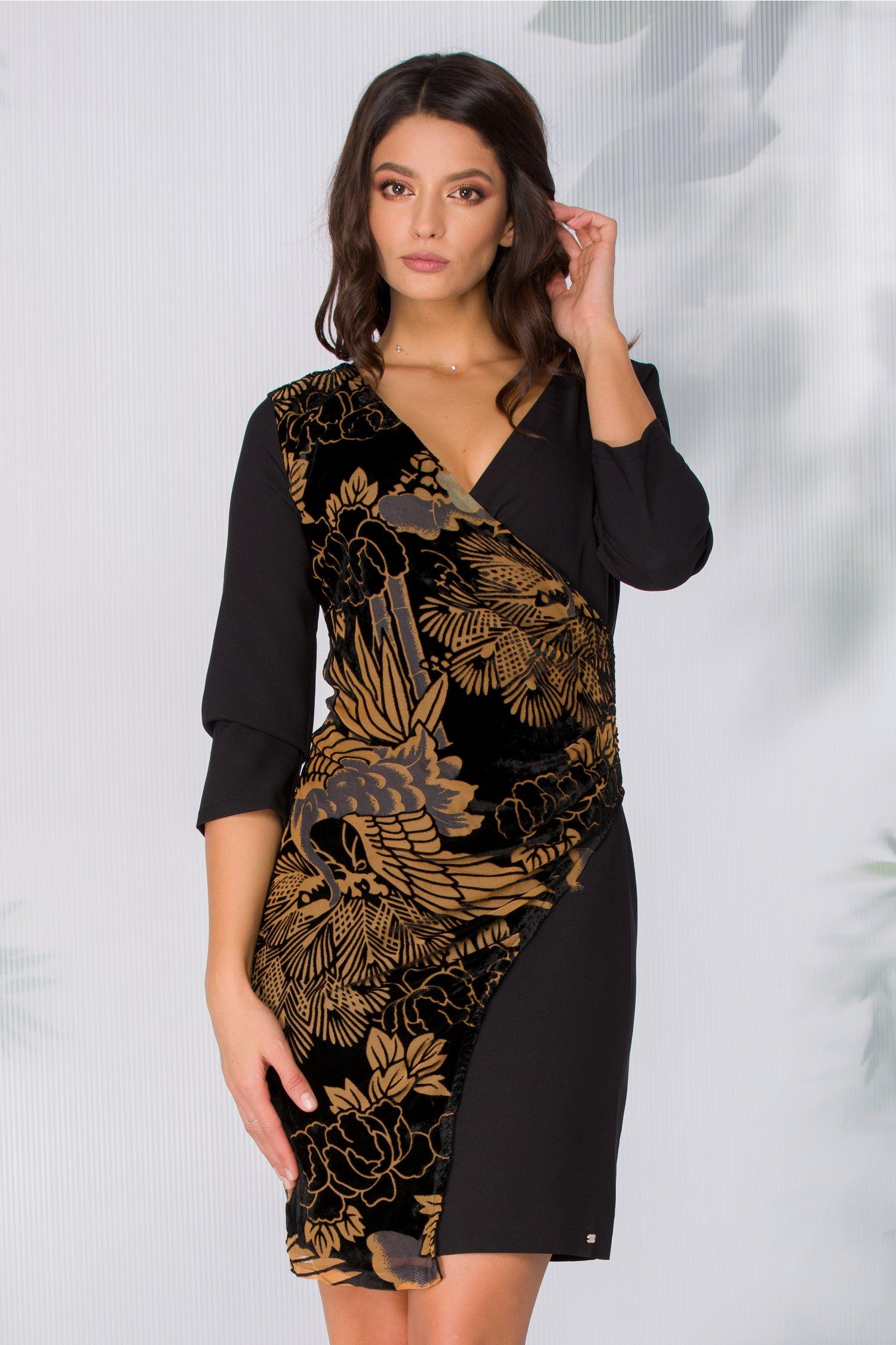 Rochie Milla neagra cu flori maro