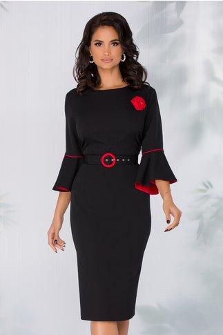 Rochie Millie neagra cu maneci clopot si accesoriu tip trandafir