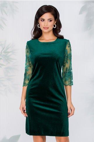 Rochie Mirela verde din catifea