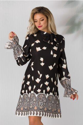 Rochie Miruna neagra cu imprimeuri florale ivory