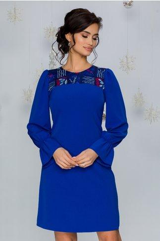 Rochie Moze albastra cu broderie la bust