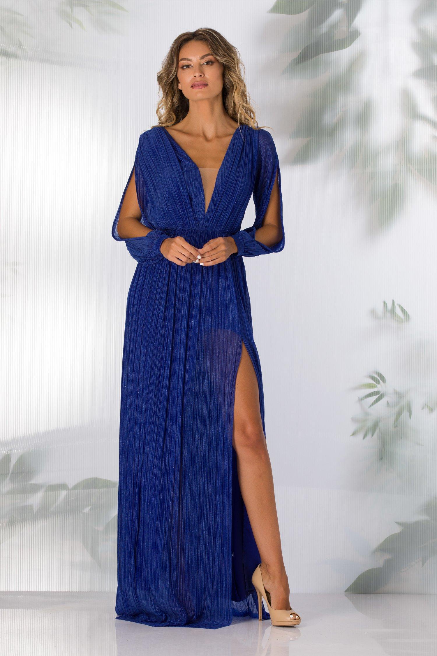 Rochie Moze albastra lunga cu glitter stralucitor
