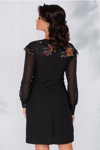 Rochie Moze neagra cu dantela brodata cu flori