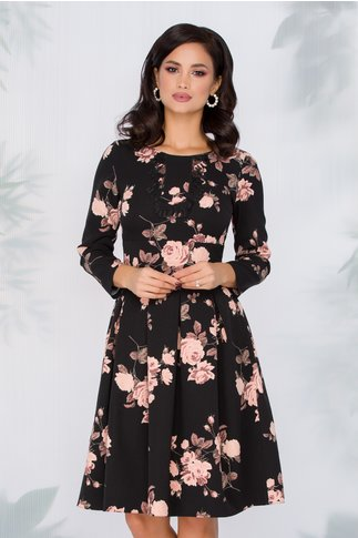 Rochie Moze neagra cu imprimeu floral roz si broderie la bust