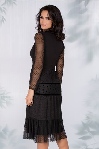 Rochie Moze neagra cu tull si insertii din catifea