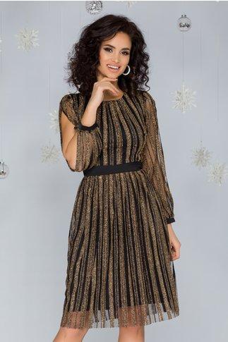 Rochie Moze neagra din tull cu fir lurex auriu