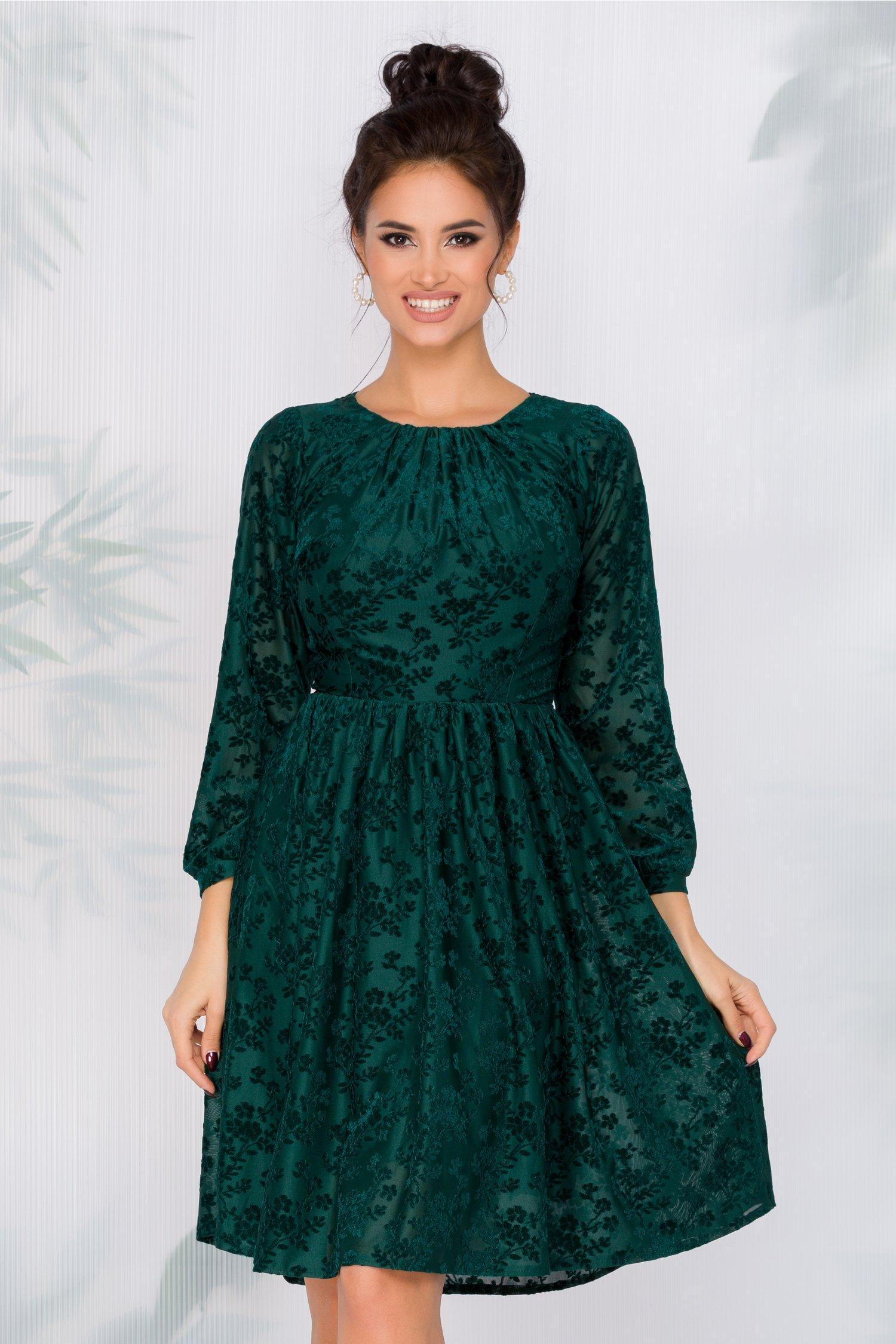 Rochie Moze verde cu insertii florale catifelate