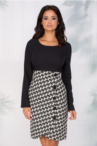 Rochie Nadia neagra cu imprimeu dinamic alb-negru si nasturi pe fusta