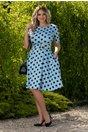 Rochie Nadine bleu cu buline si accesoriu in talie