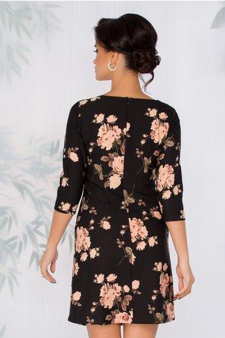 Rochie Nellie neagra cu imprimeu floral somon
