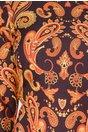 Rochie Nellie neagra cu imprimeu in nuante de orange si galben