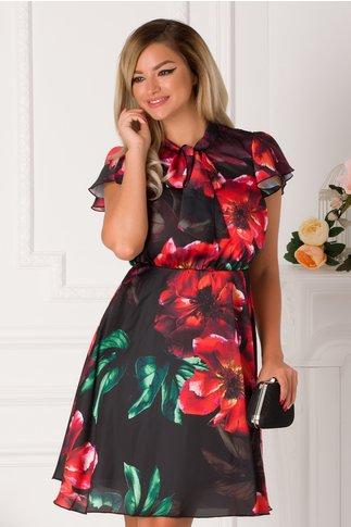 Rochie Nely neagra cu imprimeuri florale rosii