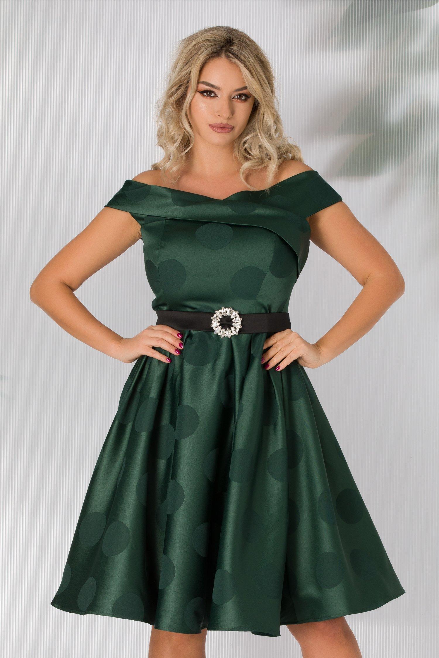Rochie Ova verde cu buline