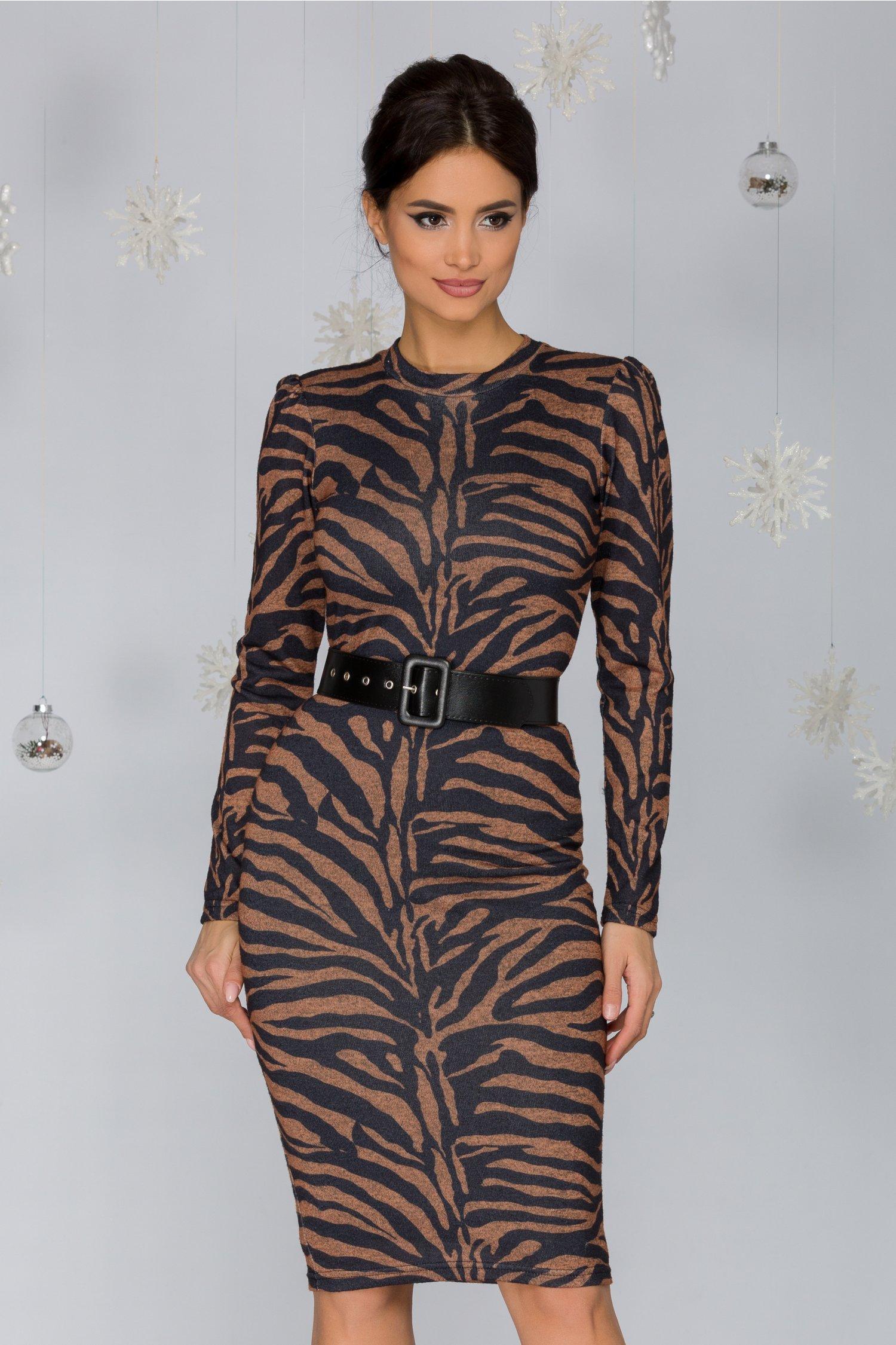 Rochie Oxana cu imprimeu stil zebra in nuante de gri si maro