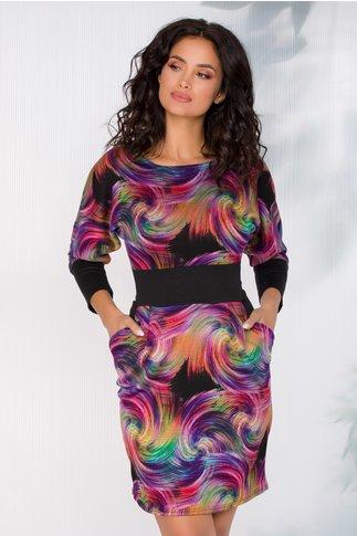 Rochie Patricia neagra cu imprimeu multicolor