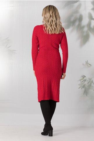 Rochie Paula rosie lunga din tricot