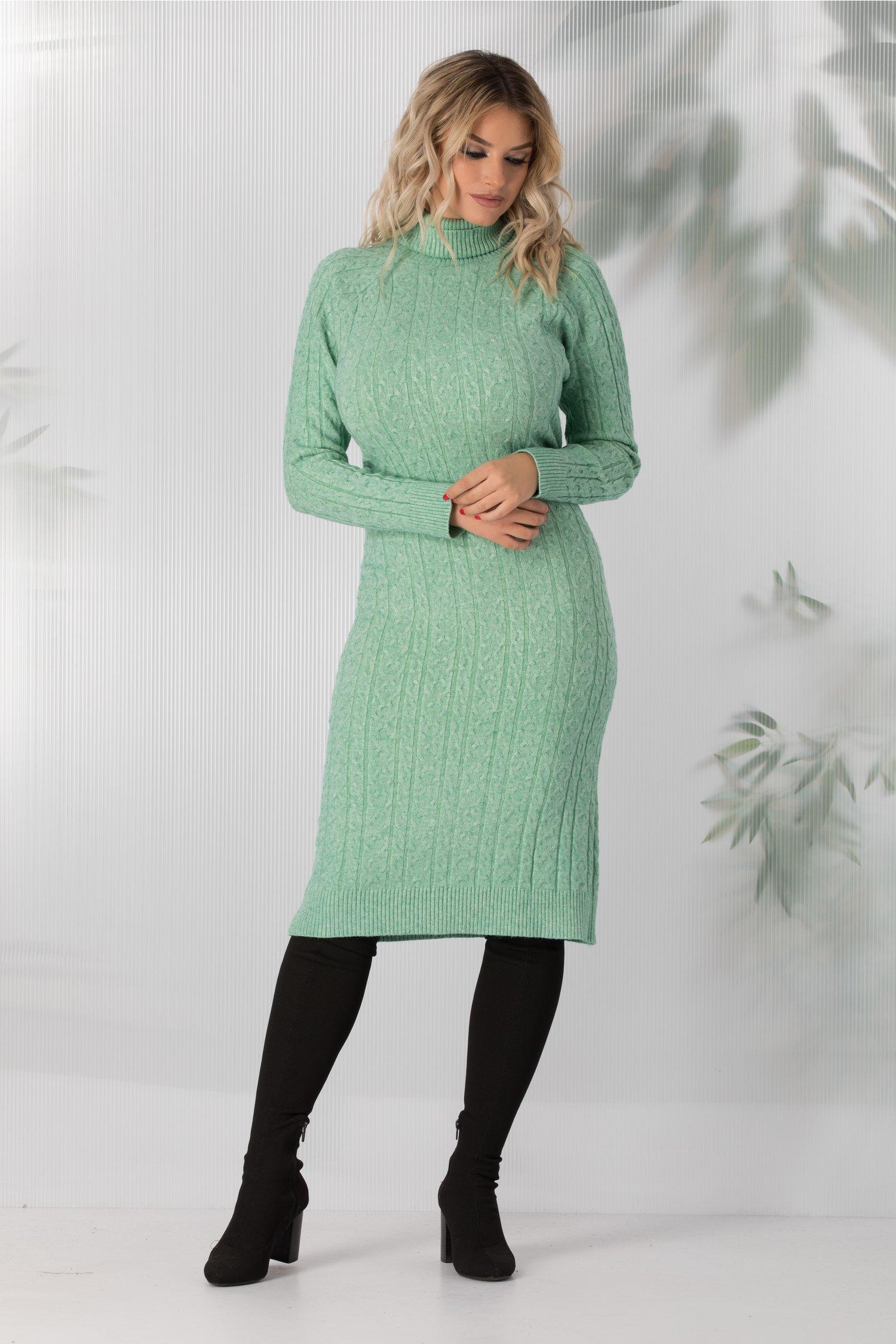 Rochie Paula verde mint lunga din tricot