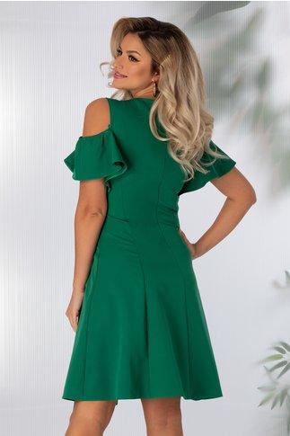 Rochie Preta clos de ocazie verde cu aplicatii la guler