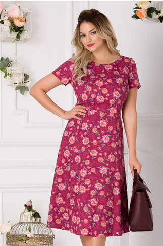 Rochie Ramona burgundy cu imprimeu floral