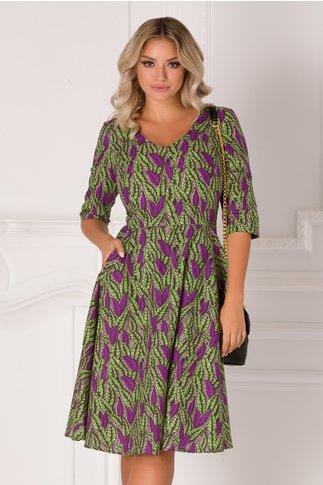 Rochie Rania verde cu imprimeuri diverse